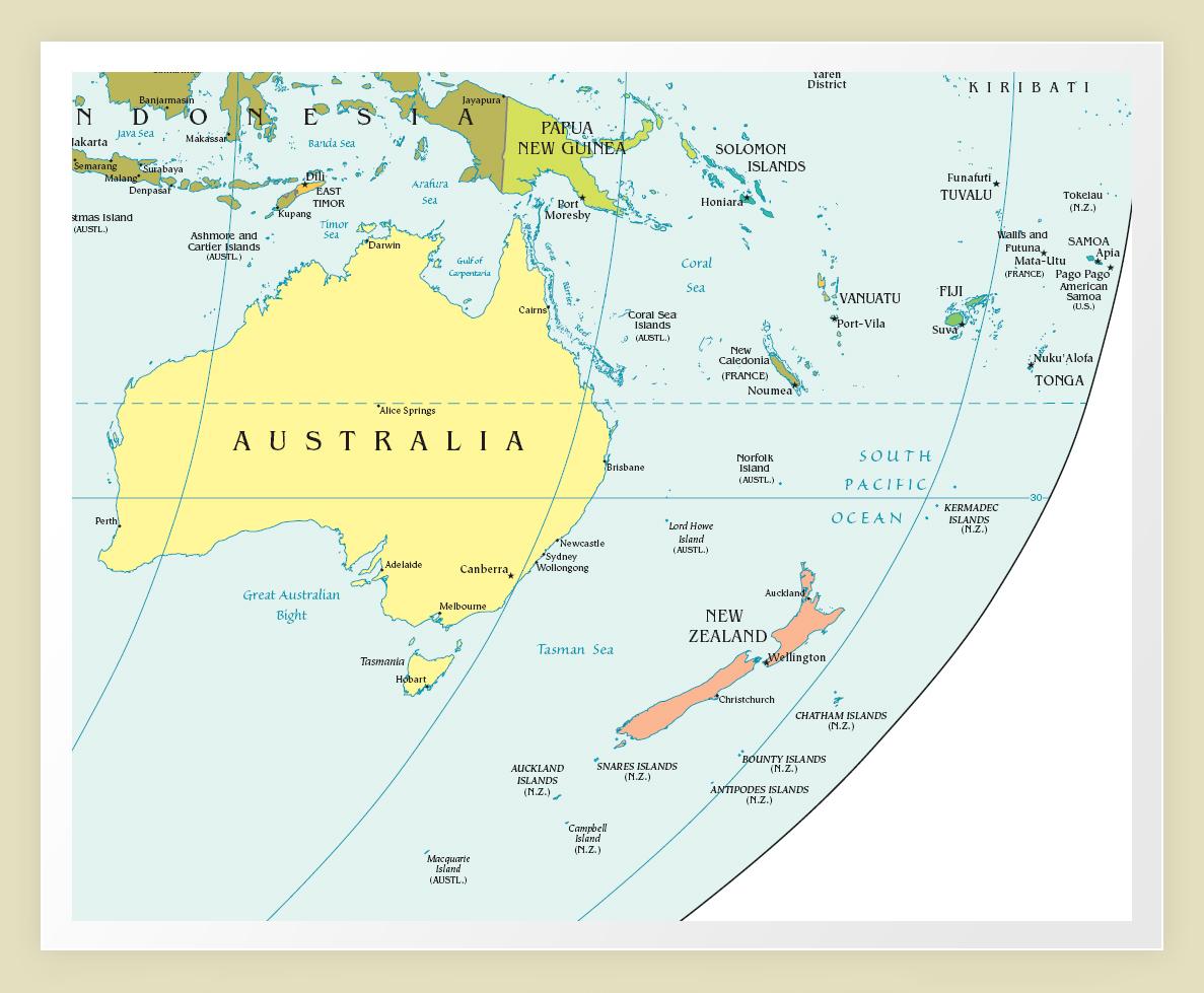 Карта австралия и океания
